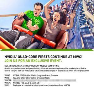 NVIDIA da pistas sobre los smartphones con tecnología Quad-Core en el MWC