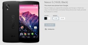 Nexus 5 llegará pronto a la tienda india de Google Play a un precio de Rs.  28999 para la versión de 16 GB
