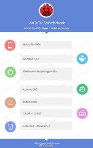 Nokia 9 aparece en AnTuTu con Snapdragon 835 SoC, 4 GB de RAM y Android 7.1.1 Nougat