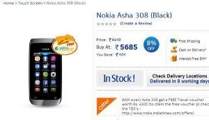 Nokia Asha 308 ahora disponible en Nokia Shop por Rs.5685