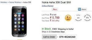 Nokia Asha 308 ya está disponible en línea por Rs.5,799;  Asha 309 próximamente