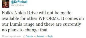 Nokia Drive seguirá siendo 'exclusivo' de Lumia, no se incluyen otros fabricantes de equipos originales de WP