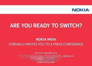 Nokia India envía invitaciones para el evento de lanzamiento de Lumia 920 y 820