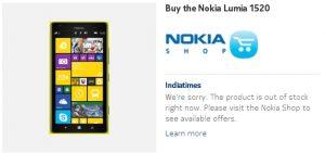Nokia Lumia 1520 se agota en India, listado 'agotado'