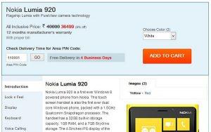 Nokia Lumia 920 y 820 ahora disponibles en Saholic por Rs.36,499 y Rs.26,499