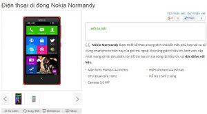 Nokia Normandy, también conocido como Nokia X, aparece en un minorista en línea vietnamita