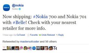 Nokia tuitea y confirma que el 700 y el 701 se están enviando ahora
