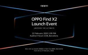 OPPO Find X2 confirmado para lanzarse el 22 de febrero