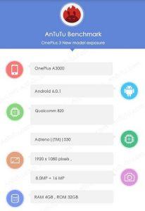 OnePlus 3 con procesador Snapdragon 820 visto en los puntos de referencia