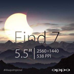 Oppo confirma que el Find 7 contará con una pantalla de 5.5 ″ 2K (1440 × 2560)