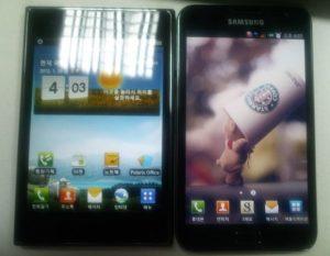 Optimus Vu en la foto junto a su competidor Galaxy Note