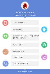 Pantech Vega IM-A888S con procesador Snapdragon 805 visto en los puntos de referencia