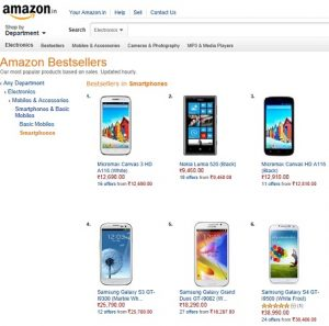 Por cada 12 dispositivos Galaxy vendidos, Amazon India vende 11 teléfonos inteligentes Lumia