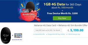 RCom ofrece un dongle Wi-Pod incluido con 1 año de datos 4G a Rs.  5.199