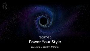 Realme 3 se lanzará en India el 4 de marzo