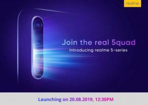 La serie Realme 5 con configuración de cuatro cámaras se lanzará en India el 20 de agosto