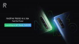 Realme Narzo 10 y 10A se lanzarán en India el 26 de marzo