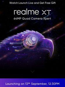 Realme XT con cámara cuádruple de 64 MP se lanzará en India el 13 de septiembre