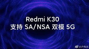 El teléfono inteligente Redmi K30 con soporte 5G se lanzará en diciembre