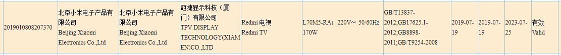 Certificación Redmi-TV-3C