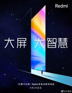Redmi lanzará un Smart TV de 70 pulgadas en China el 29 de agosto