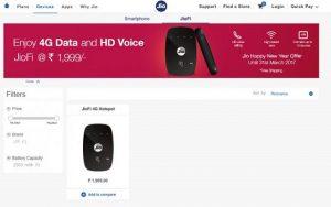 Reliance Jio lanza tienda online para dispositivos y accesorios