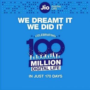 Reliance Jio supera el hito de los 100 millones de suscriptores en solo 170 días