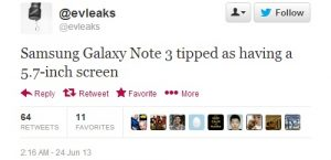Samsung Galaxy Note 3 puede tener una pantalla de 5.7 pulgadas