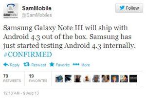 Samsung Galaxy Note 3 se enviará con Android v4.3