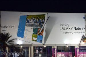 Samsung Galaxy Note Pro revelado en un banner en CES 2014 antes del lanzamiento