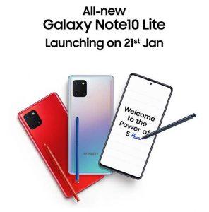 Samsung Galaxy Note10 Lite confirmado para lanzarse en India el 21 de enero