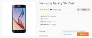 Samsung Galaxy S6 Mini con pantalla de 4.6 pulgadas y procesador Snapdragon 808 listado en línea