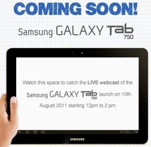Samsung Galaxy Tab 750, la tableta de 10,1 pulgadas que se lanzará en India el 10 de agosto