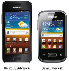 Samsung lanza oficialmente los teléfonos inteligentes Galaxy S Advance y Galaxy Pocket en India