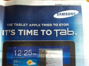 Samsung vende su Galaxy Tab 10.1 como 'La tableta que Apple intentó detener'