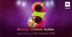 Se confirma que el teléfono inteligente Redmi 8 se lanzará en India el 9 de octubre