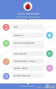 Se detectó un teléfono inteligente Samsung con procesador Snapdragon 820;  Podría ser Galaxy S7