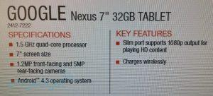 Se filtraron las nuevas funciones de Nexus 7;  Puede ser lanzado el 31 de julio.