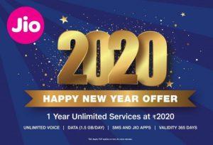 Se lanzó la oferta de Feliz Año Nuevo de Jio 2020 con un plan de 1 año que cuesta ₹ 2020