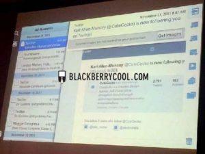 Se muestra el cliente de correo electrónico nativo de Blackberry Playbook