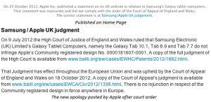 Se revisó la declaración de 'Samsung no copió el iPad' publicada por Apple en el sitio web del Reino Unido