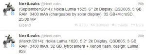Se rumorea que Nokia Lumia 1820 y Lumia 1525 (buque insignia) con pantalla 2K