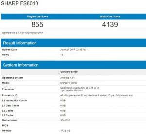 Sharp FS8010 visto en Geekbench con Snapdragon 630 SoC y 4 GB de RAM