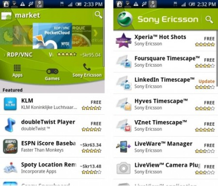 Android Market Sony Ericsson Channel