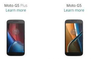 Superficie de especificaciones de Moto G5 y Moto G5 Plus;  Podría ser presentado en marzo.