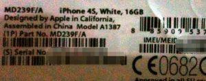 Superficies de la etiqueta de la caja del iPhone 4S