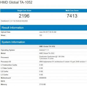 Supuesto Nokia 9 visto en Geekbench con Snapdragon 835 SoC y 4 GB de RAM