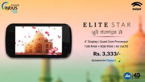 Swipe Elite Star con pantalla de 4 pulgadas, soporte 4G VoLTE e Indus OS lanzado para Rs.  3333