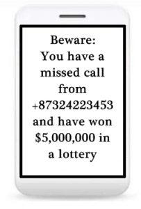 TRAI emite directivas sobre llamadas perdidas de números internacionales.  y textos relacionados con la lotería