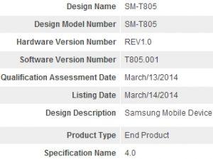 Tableta Samsung desconocida con alta resolución de pantalla certificada en Bluetooth SIG